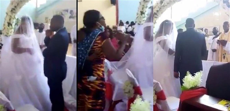 امرأة تفجر فضيحة أثناء زفاف زوجها من غيرها