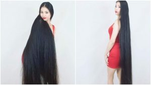 بالصور.. لم تقص شعرها منذ 15 عاما فكان بهذا الشكل..!!