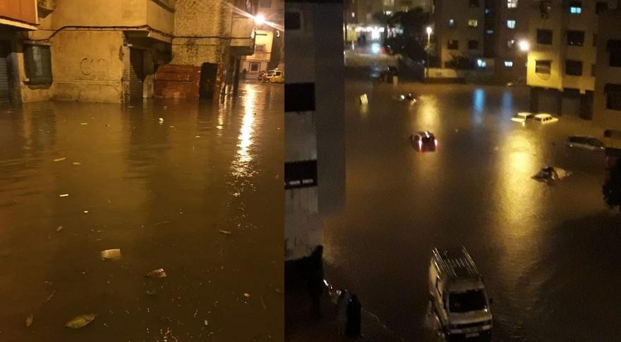 """بالصور..سويعات من أمطار الخير تغرق الدار البيضاء والمجالس المنتخبة وشركة """"ليديك"""" في قفص الاتهام"""