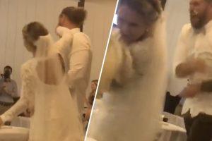 فيديو .. مزاح عروس مع عريسها ينتهي بصدمة مؤلمة على وجهها