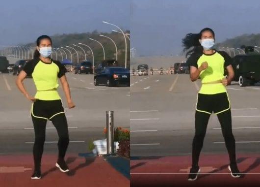 بالفيديو.. شابة تمارس الرياضة غير مكترثة بحدوث انقلاب على السلطة خلفها