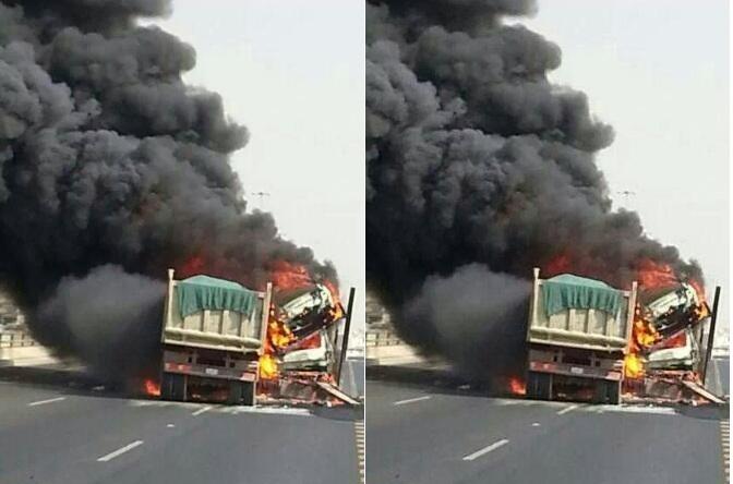 """حريق يلتهم شاحنة محملة بـ """" الدلاح"""" بمنحدر الموت أمسكرود"""