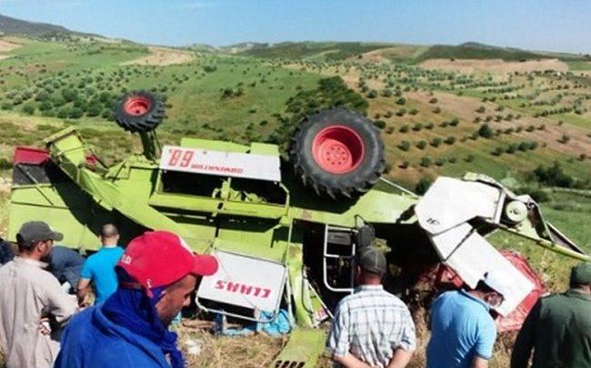 آلة حصاد تفصل رأس عامل عن جسده باشتوكة